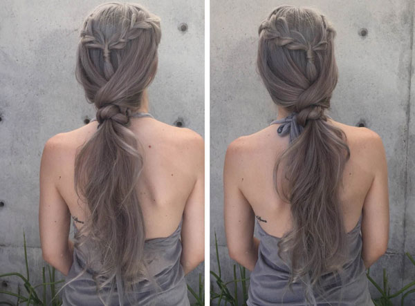 Braided Pony Knot Hairstyle