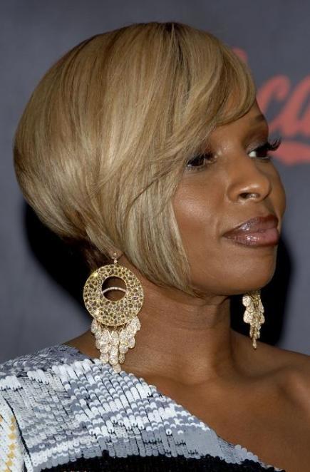 Mary J Blige Angled Bob Cut Hairstyle