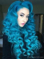 blue long curly hair