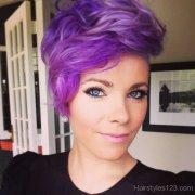 short purple layered hair