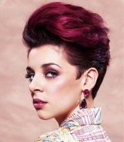 short purple layered hairstyle