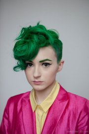 green short haircut