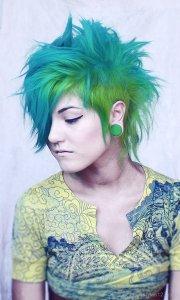 spiky green hair