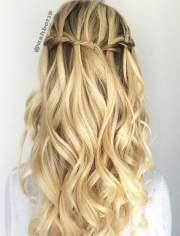 chic waterfall braid hairstyles