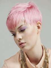 pink hair color short pixie hairstyles