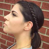 Ponytail with a headband braid for short hair  HAIRSTYLES