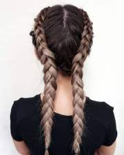 2018 double braids long hair french