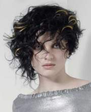 asymmetrical short curly hair styles