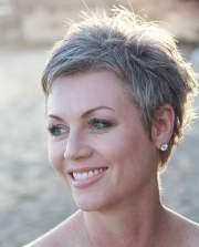 grey pixie hair cut & gray