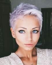 grey pixie hair cut & gray