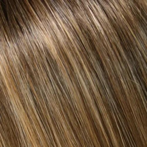 24B18S8 | Med Natural Ash Blonde & Light Natural Gold Blonde Blend, Shaded w/ Med Brown