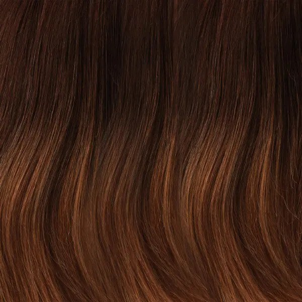 B8-27/30RO | Med Natural Brown Roots to Midlengths, Med Red-Gold Blonde Midlengths to Ends