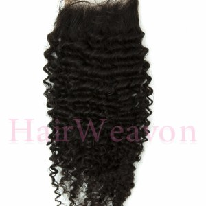 Lace Closure Hair Piece | Kinky Curly Human Hair | Natural Black 1B