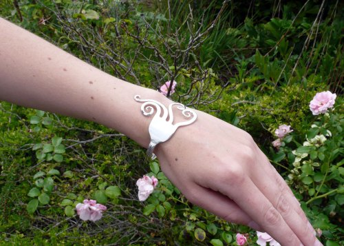 upcycled antique silver and vintage silver-plate fork bangles
