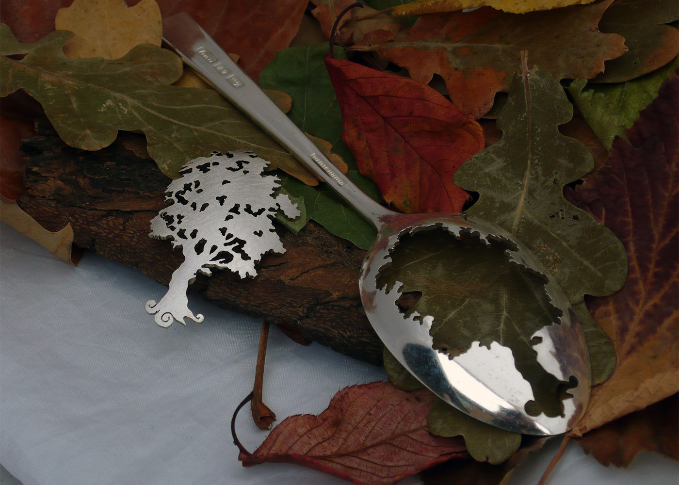Recycled spoon Oak tree brooch