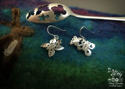 Sterling silver Victorian teaspoon butterfly earrings