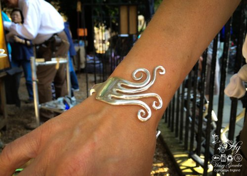 Handmade and upcycled flatware fork bangle
