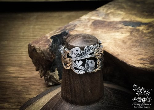 handcrafted, recycled silver bird tweet ring made from old silver spoons