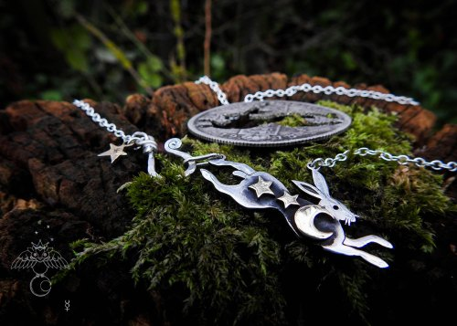Leaping hare necklace - handmade and recycled silver Florin coin