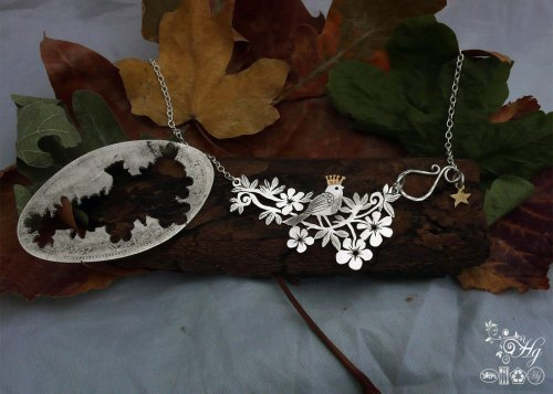Handmade and upcycled sterling silver half crown queen of the birds necklace