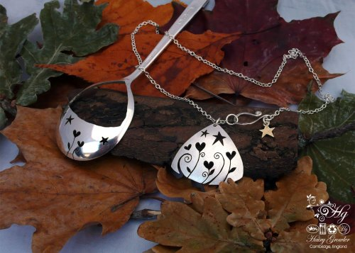handcrafted and recycled spoon love grows necklace