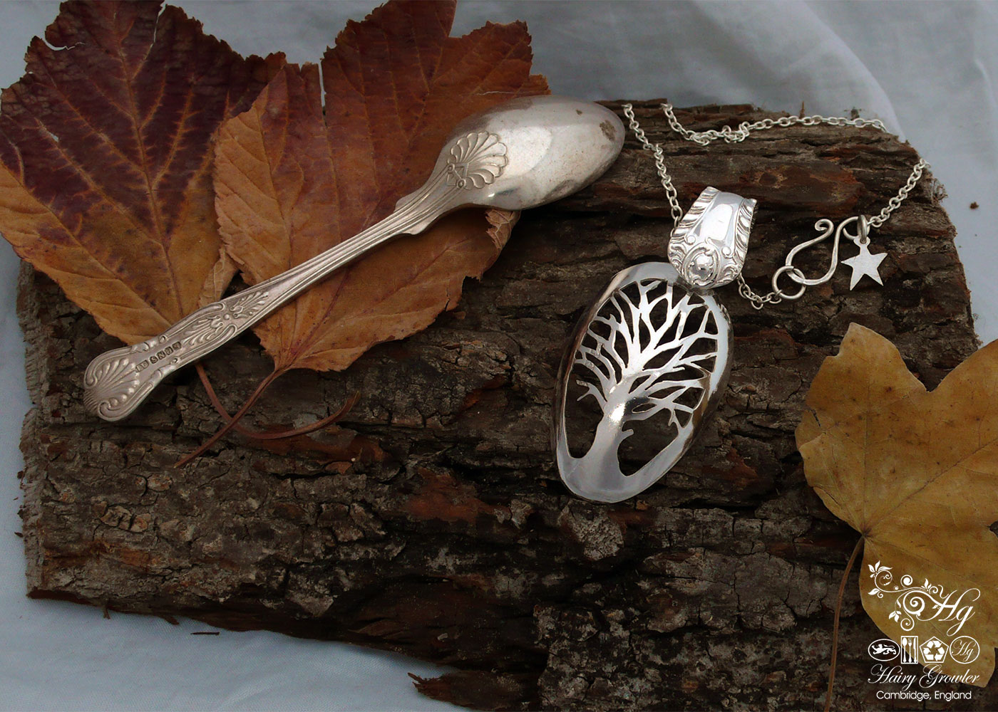 Handcrafted and recycled Victorian silver teaspoon Autumn Tree necklace made in Cambridge