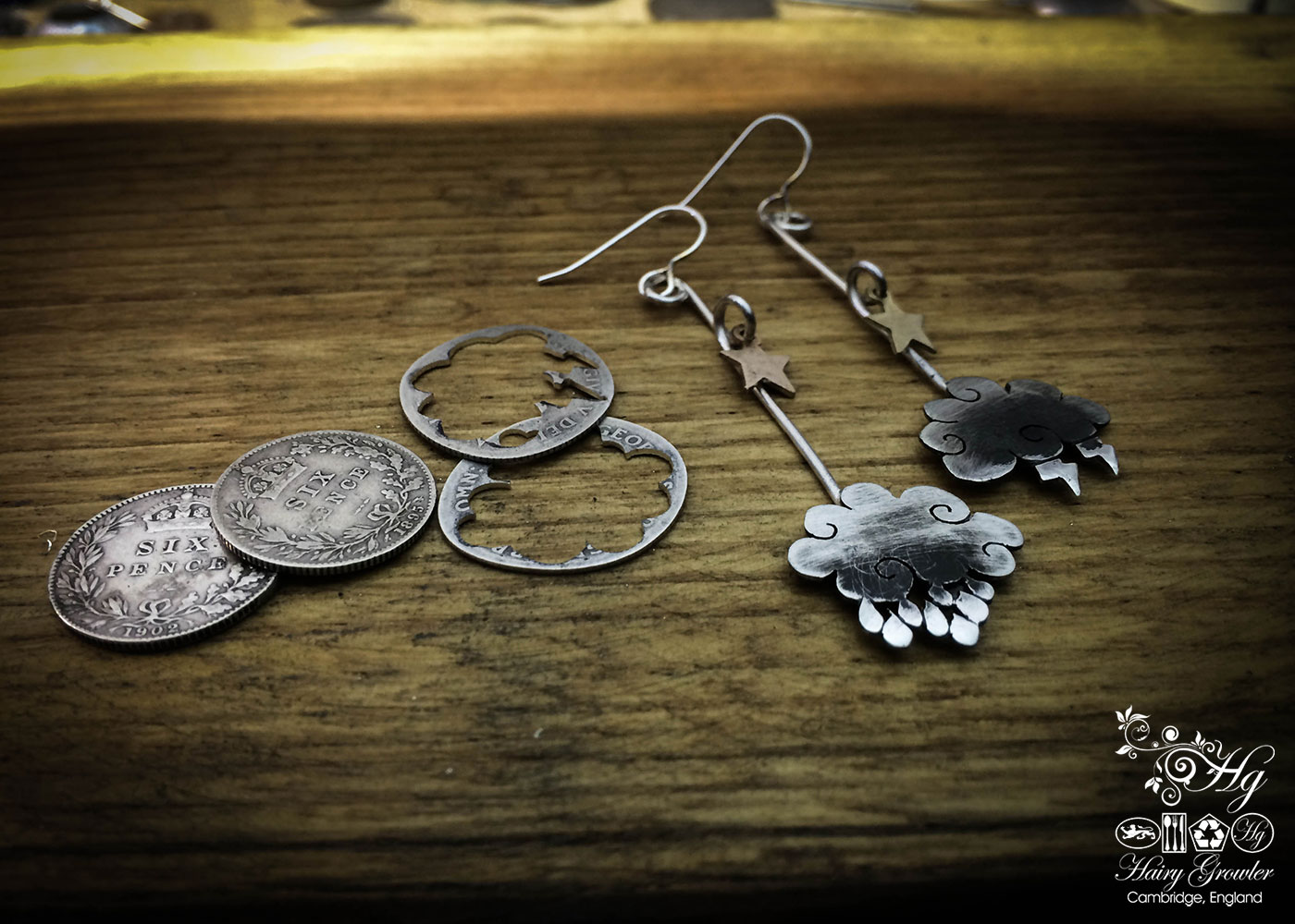 The Official Hairy Growler Jewellery Co. Cambridge - handmade and upcycled silver sixpence cloud earrings