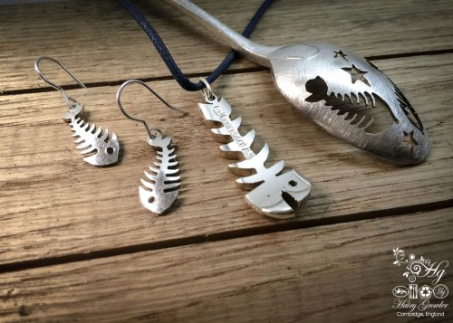 Handmade and upcycled vintage spoon fishbone earrings and necklace