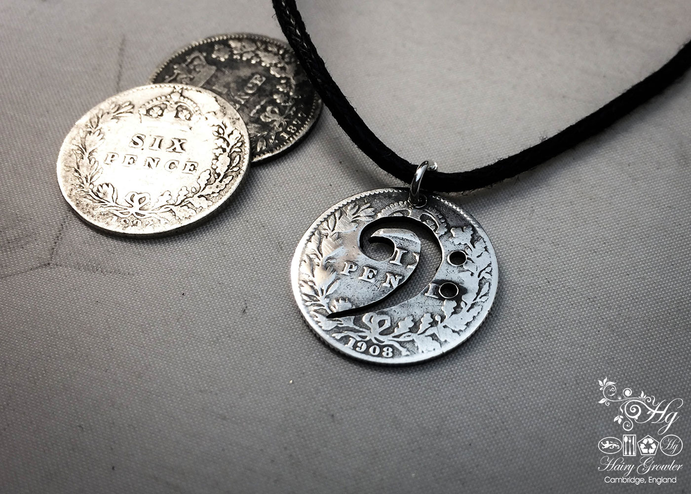 Bass Clef necklace - handmade and recycled using silver sixpence