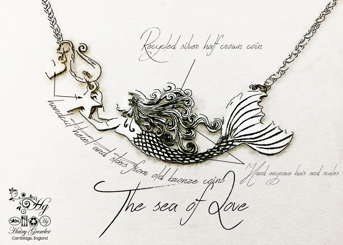 Mermaid necklace made in landlocked Cambridge, UK Hairy Growler workshop