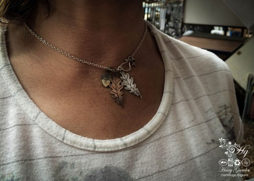 Handcrafted and recycled oak leaves and acorn necklace