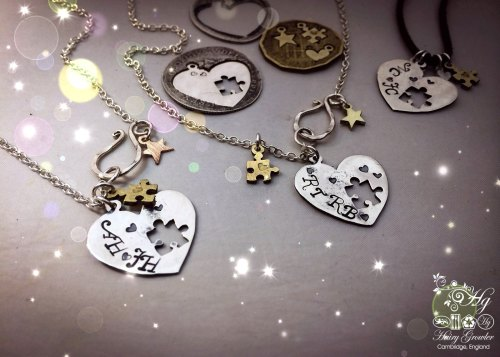 handmade and recycled silver coin love heart jigsaw necklace pendant