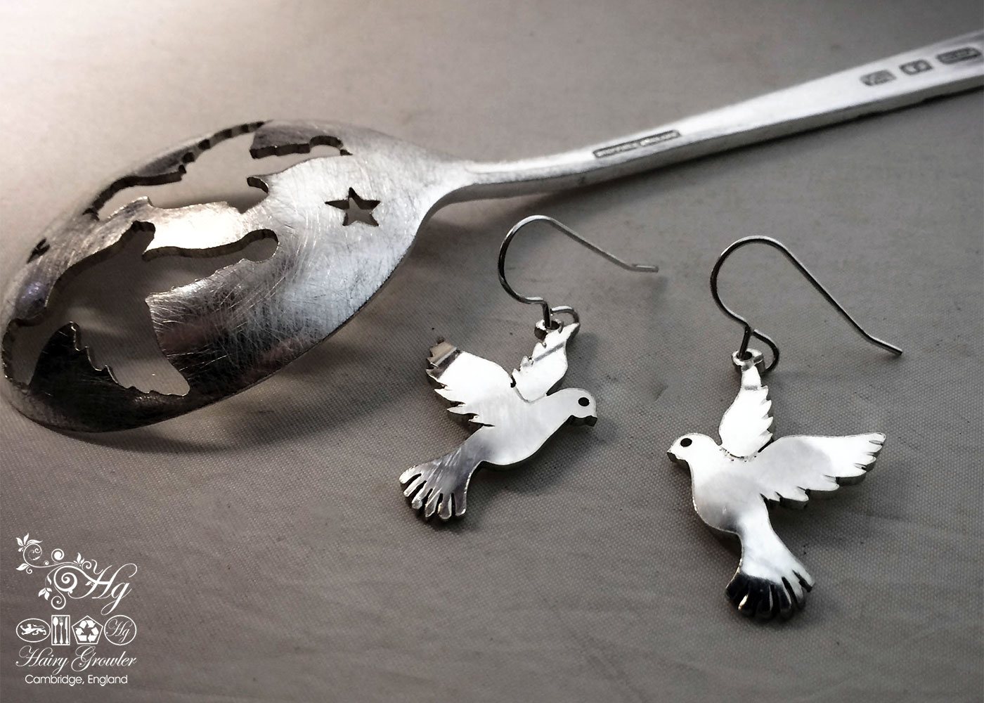 handcrafted and upcycled spoon peace-dove earrings