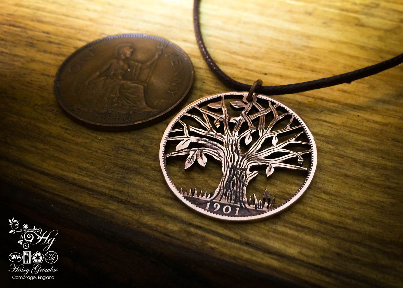 Handmade and upcycled coin pendant necklace autumn tree