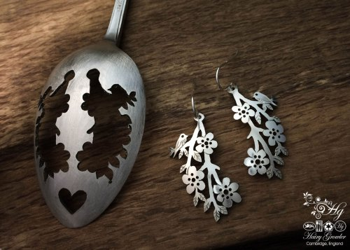 Amongst the blossom handmade and recycled spoon bird earrings
