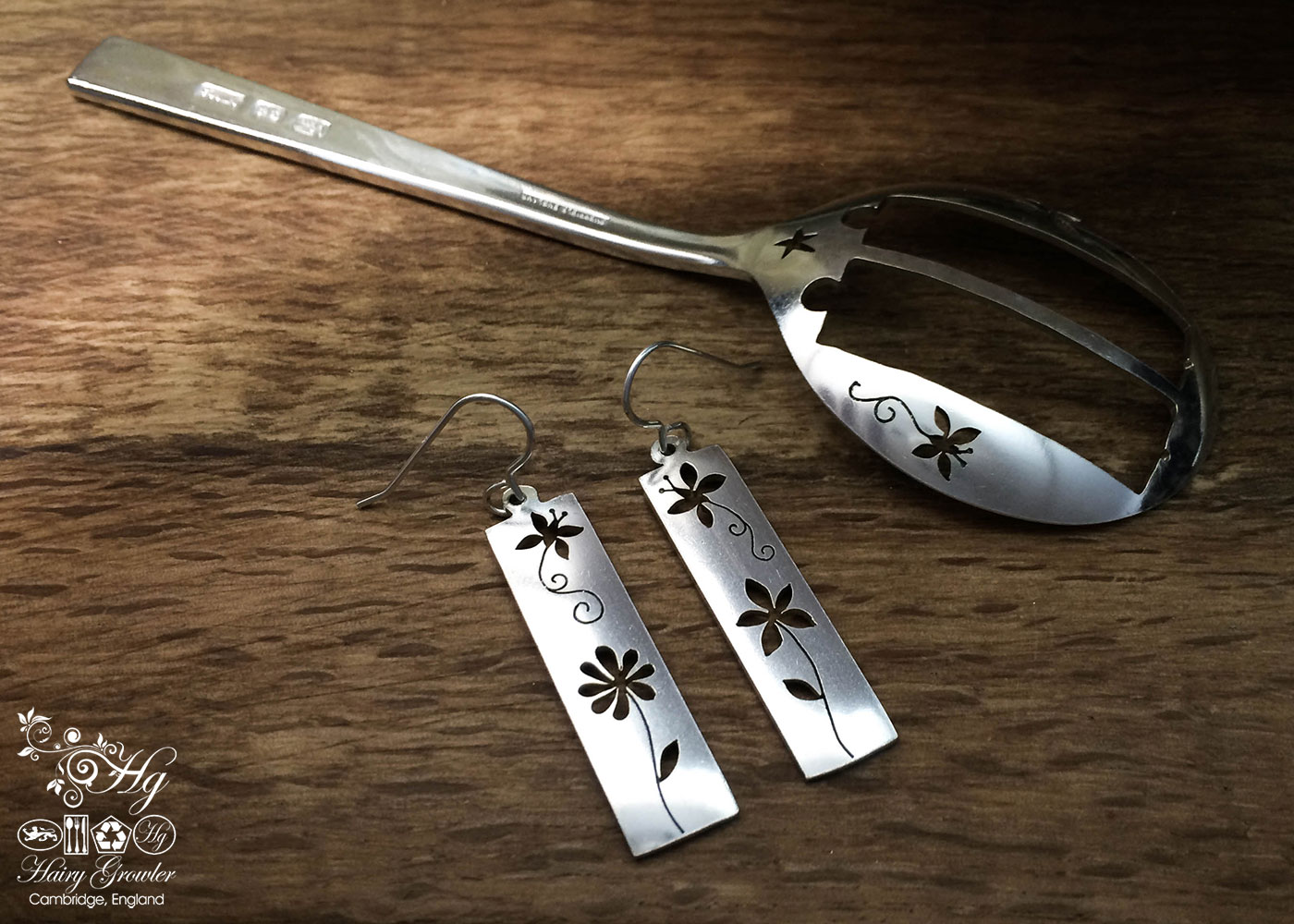 handcrafted and recycled spoon butterfly and flowers earrings