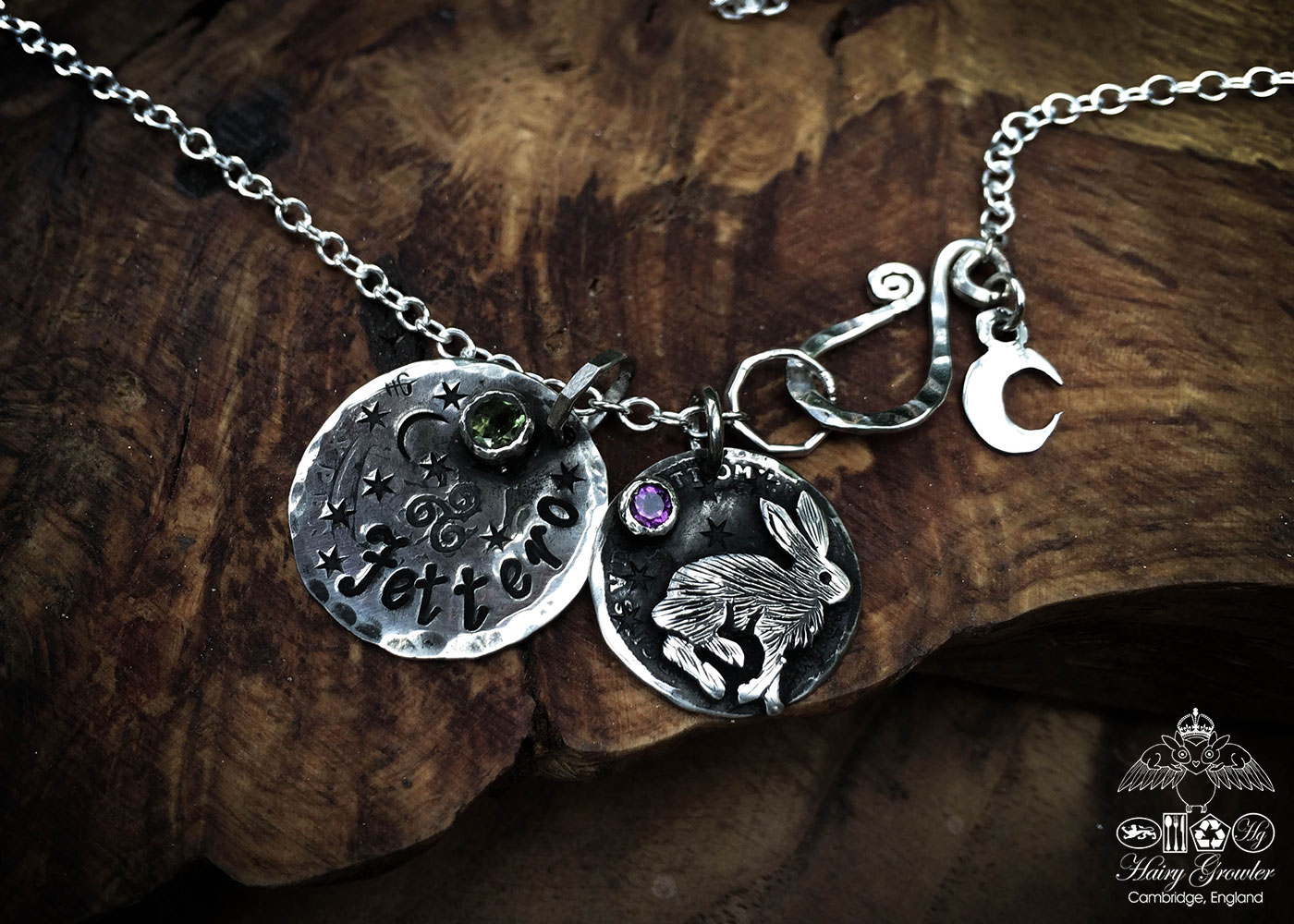 Handmade and repurposed sterling silver magical leaping hare necklace
