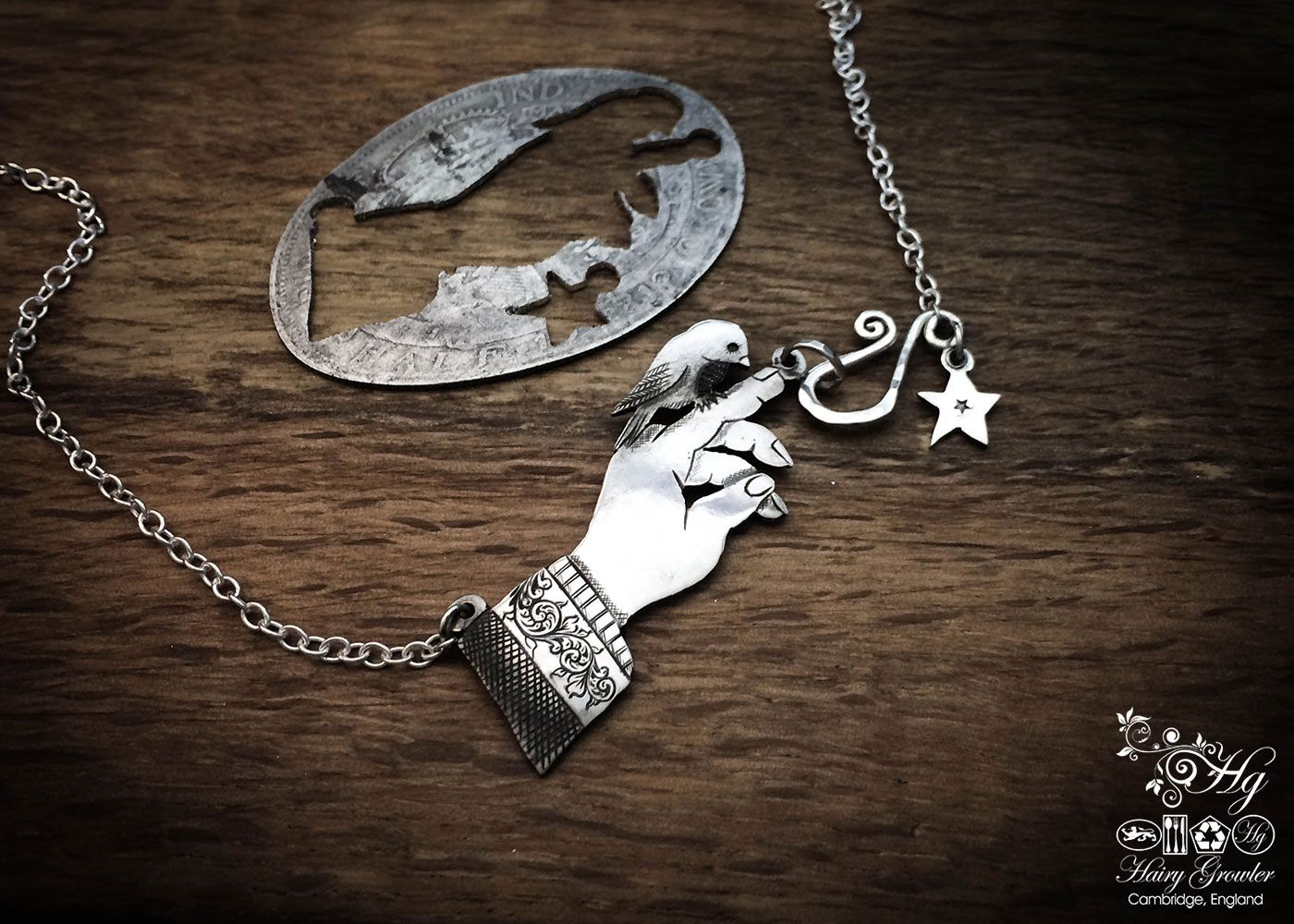 Handcrafted and recycled sterling silver 'Meet my little bird friend' necklace