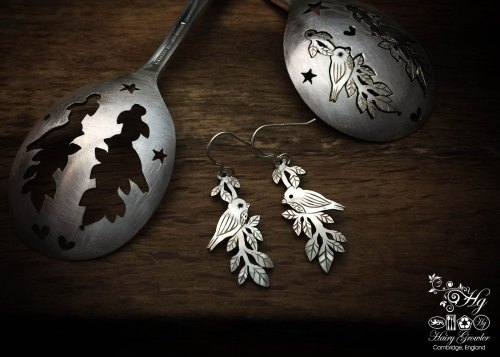 my friends in the trees handmade and recycled spoon bird earrings
