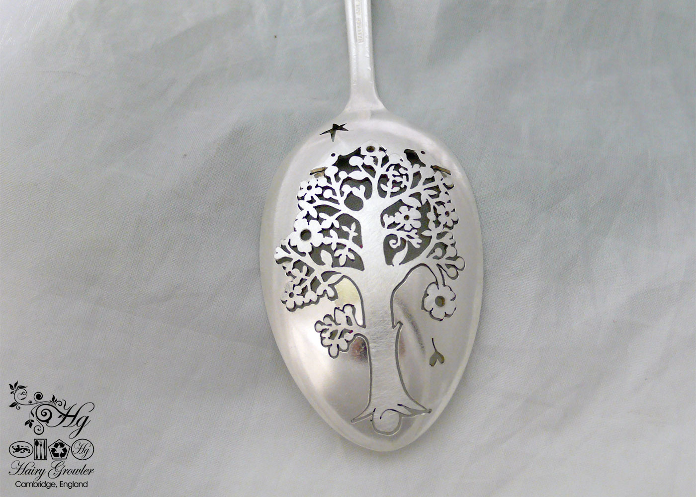 handcrafted and recycled spoon whimsical tree brooch