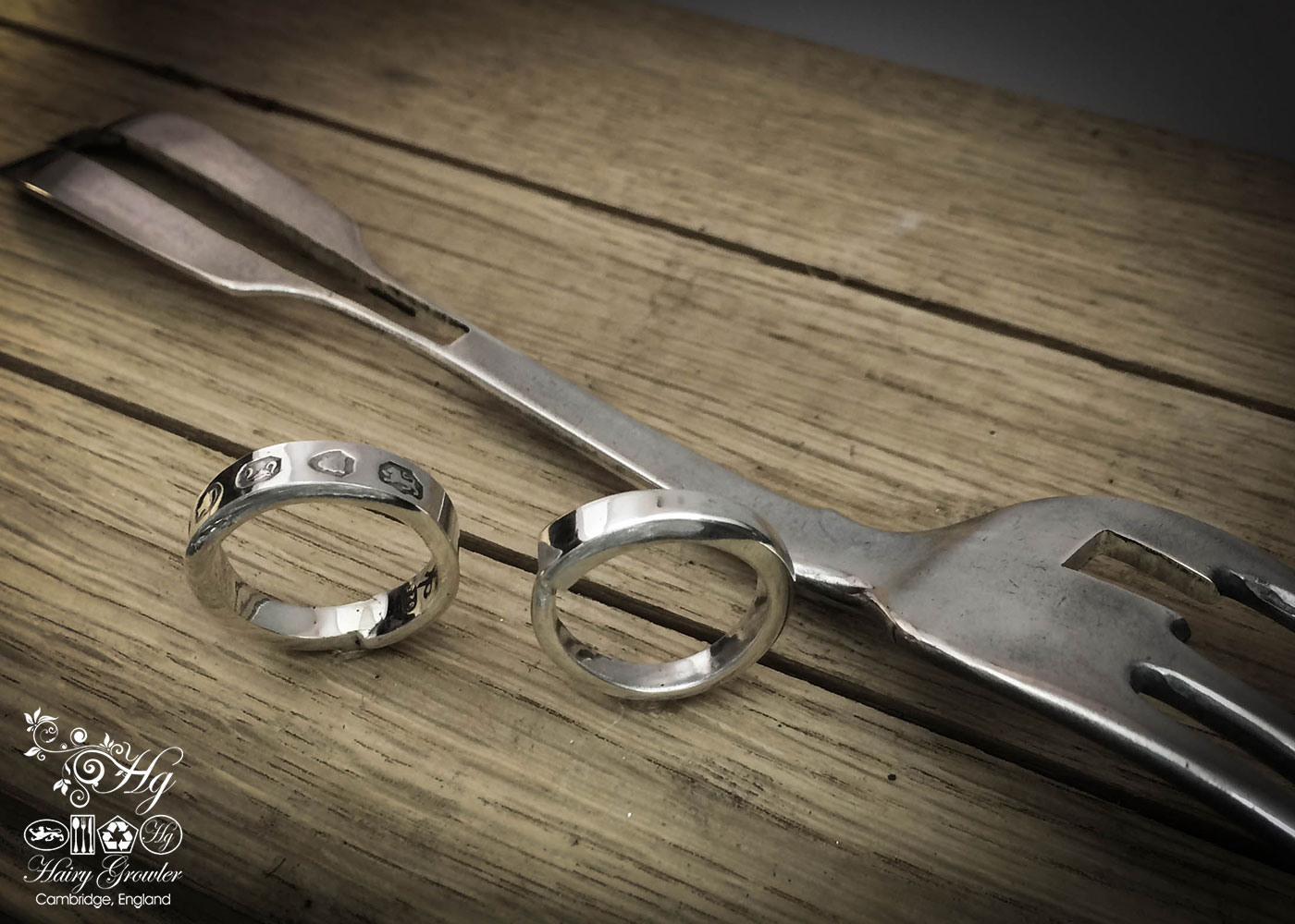 handcrafted and recycled from antique silver fork ethical wedding ring