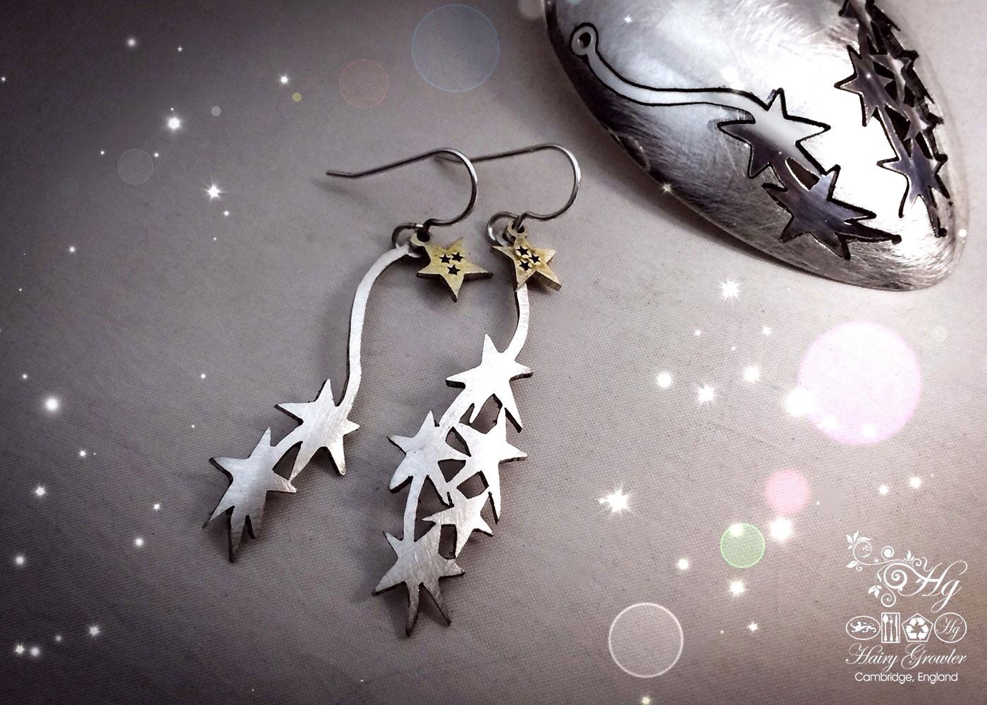 handmade and repurposed spoon star burst earrings