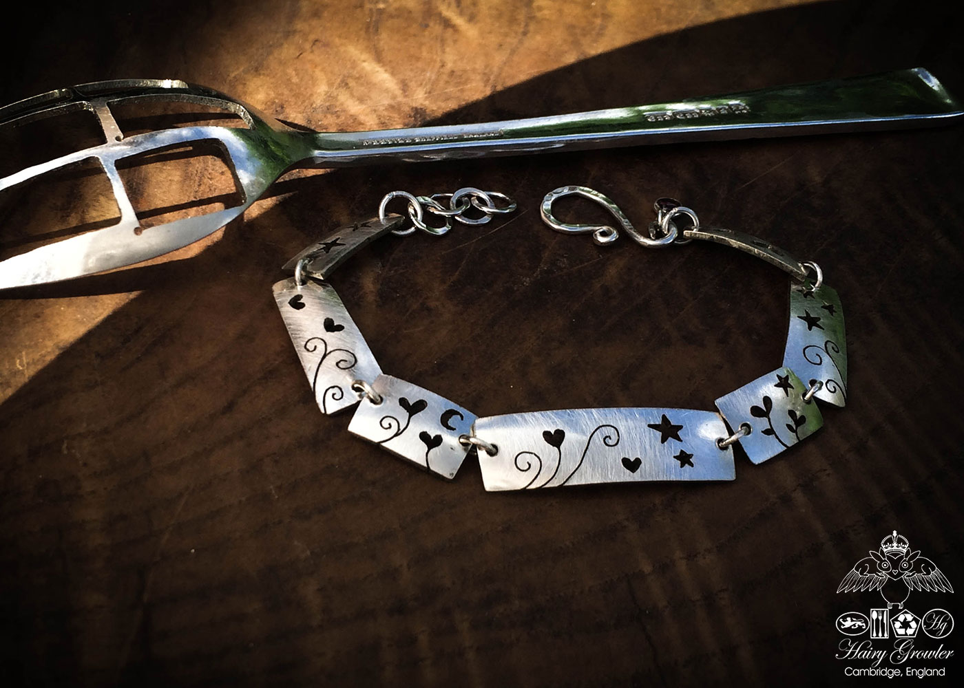 Love grows heart bracelet individually handcrafted and recycled from an old antique spoons