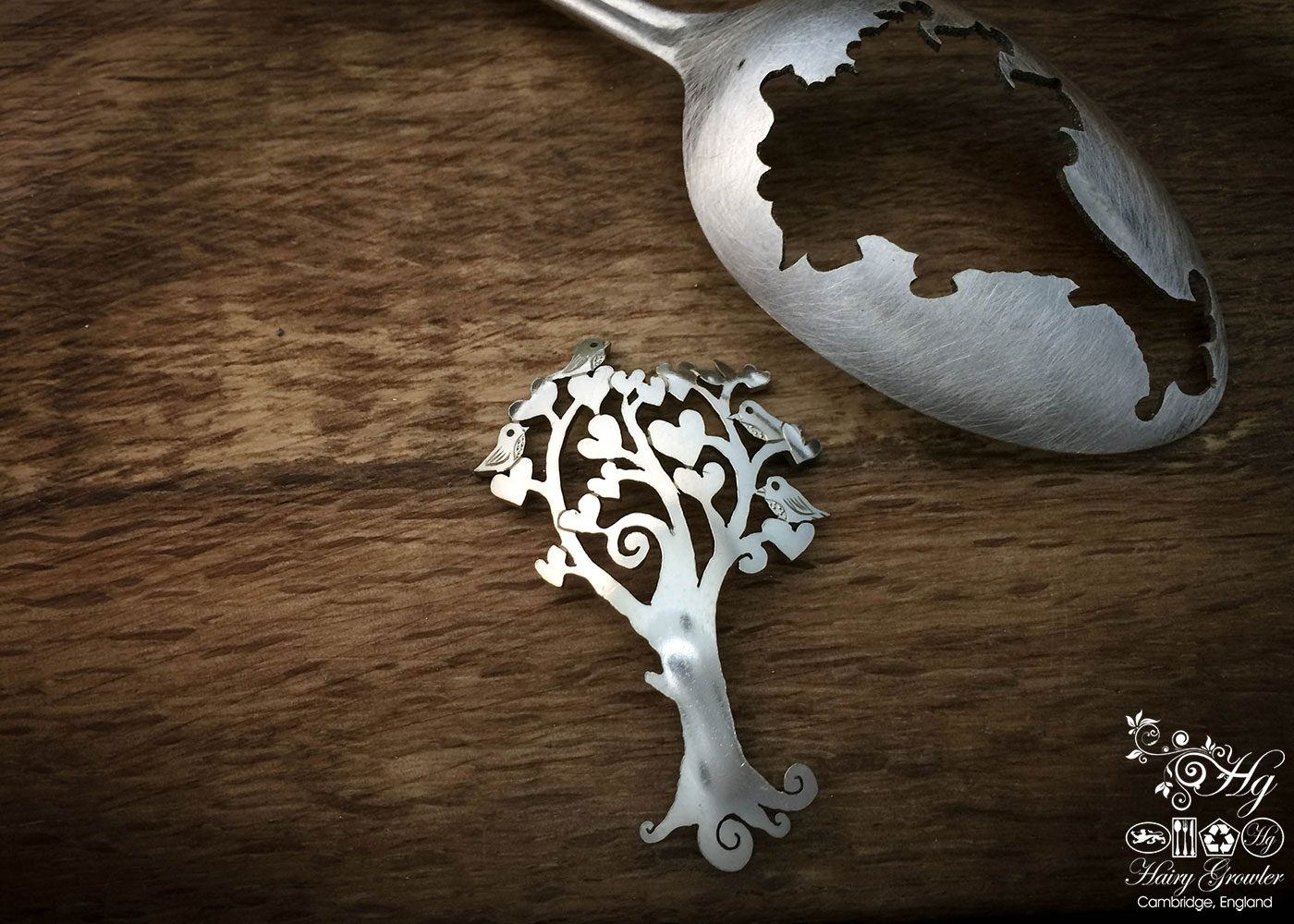 handmade and upcycled spoon tree-of-love brooch