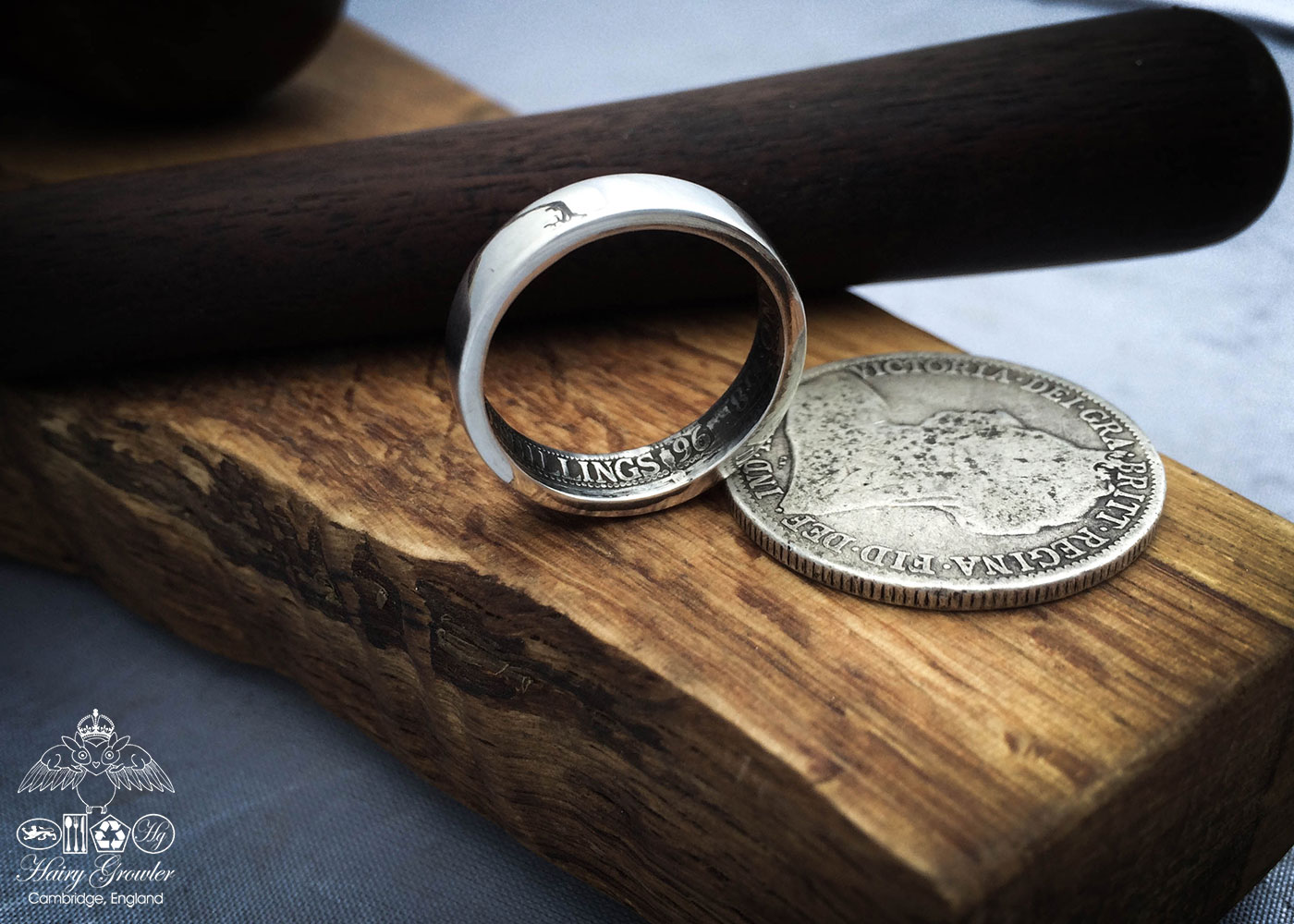 Silver Band Coin Rings.