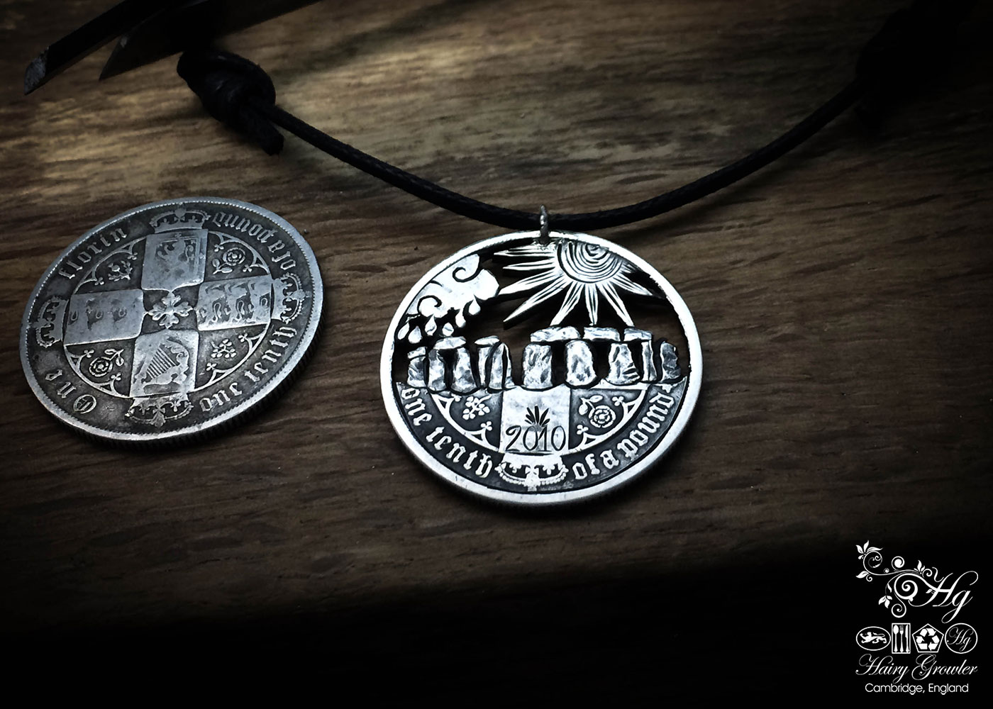 handmade and upcycled summer solstice coin necklace pendant