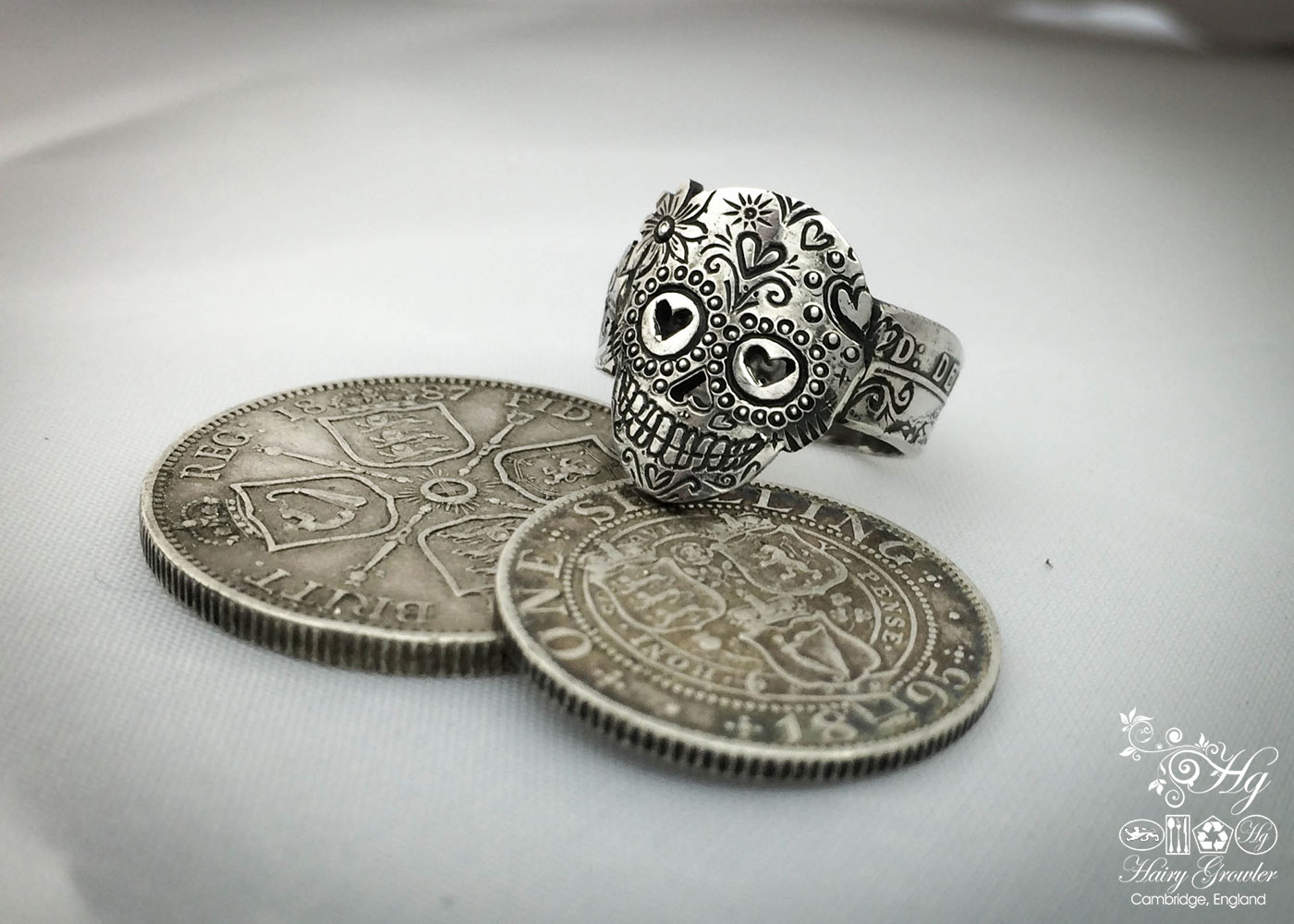 Handmade, repurposed, upcycled, original silver coin day of the dead sugar skull rings