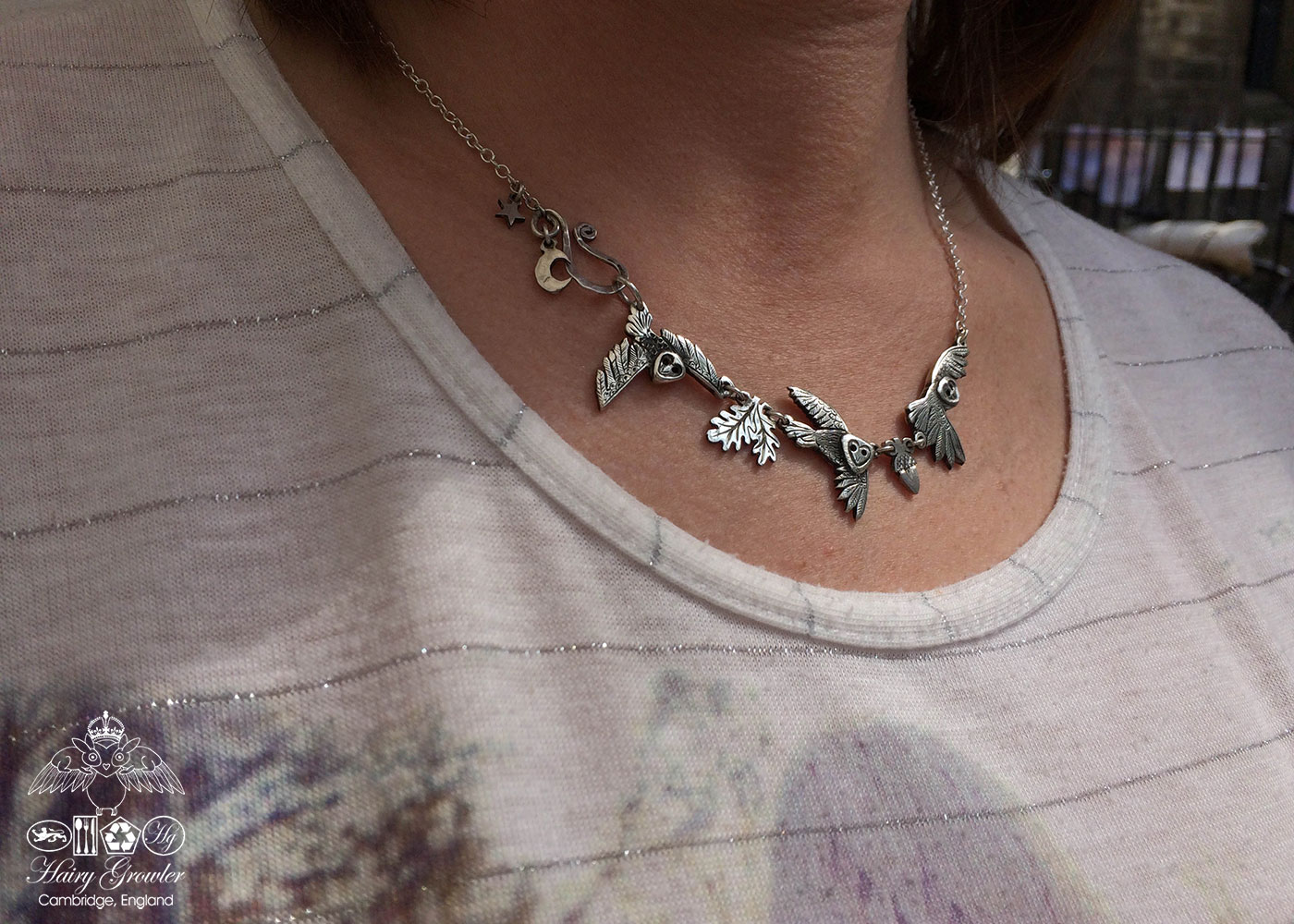 Handmade and recycled sterling silver coins Owl necklace
