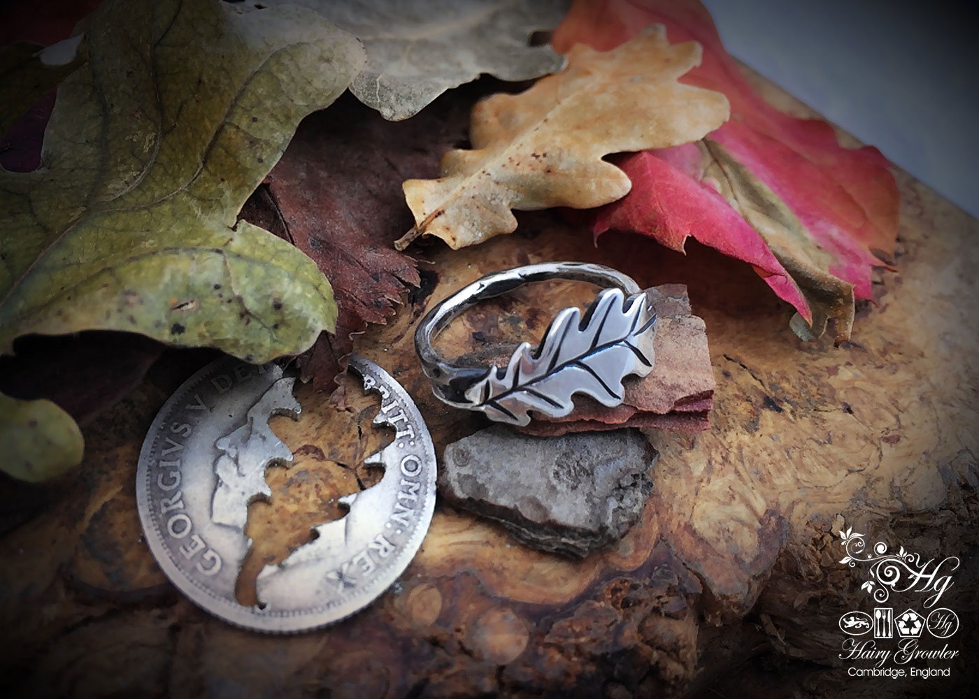 handmade and repurposed silver shilling oak leaf ring