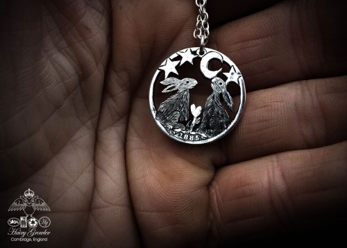 handmade and recycled silver shilling coin moon gazing hare necklace